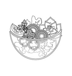 line delicious fresh organ salad in the bowl vector image