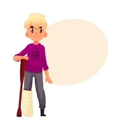 Little boy with broken leg and a crutch vector image