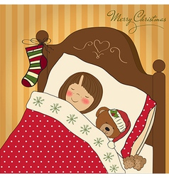 little girl waiting for Santa on Christmas Eve vector image