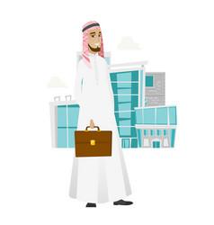 Muslim businessman holding briefcase vector