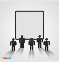 People silhouette against blank screen vector