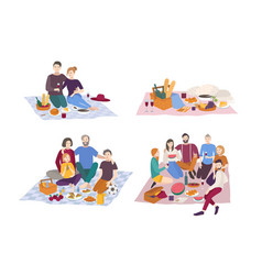 picnic in park set couple vector image vector image
