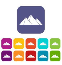 Pyramids icons set vector