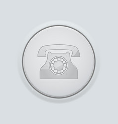 Round button with telephone sign on gray vector