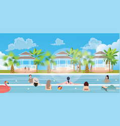 Swimming pool situation people family girl man vector