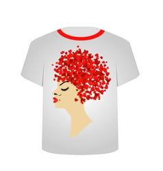 T shirt template valentine hair vector