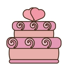 Tasty pink cake two hearts wedding icon vector