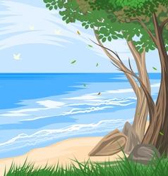 Trees on the beach vector