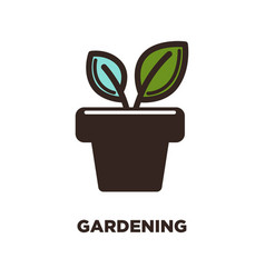 Two leaves growing from pot logo design gardening vector