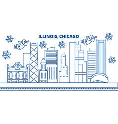 usa illinois chicago winter city skyline merry vector image