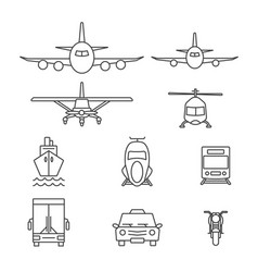 Vehicle icon sets line icons vector
