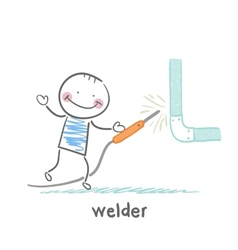 Welder near the pipe vector