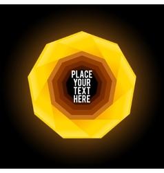 Yellow nonagon shape on dark background vector image vector image