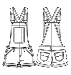 Front and back sides of kids overall vector