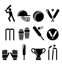 Cricket bat man playing cricket equipment vector