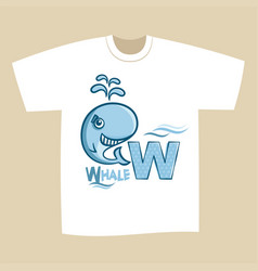 t-shirt print design letter w whale vector image