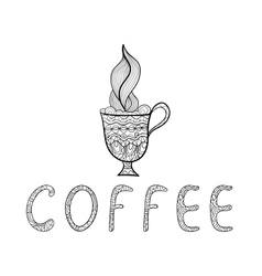 Black and white outline doodle coffee cup vector