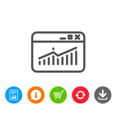 Website traffic line icon report chart sign vector
