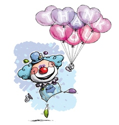 Clown with heart balloons saying thank you boy vector