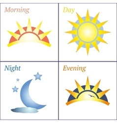 Morning day evening night icon set vector