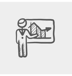 Businessman presenting with his chart sketch icon vector