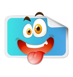 Square sticker with happy face vector