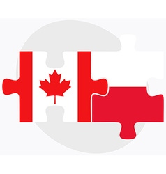 Canada and poland flags vector