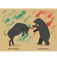 Stock market concept bull vs bear vector