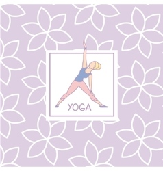 Triangle pose yoga studio design card vector
