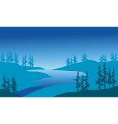 Silhouette of river and spruce vector