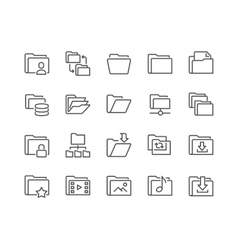 Line folder icons vector