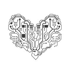 Circuit board heart icon technology design vector