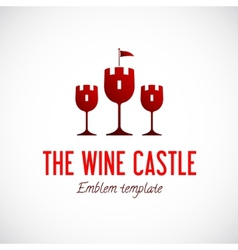 Abstract wine glass castle concept symbol icon vector