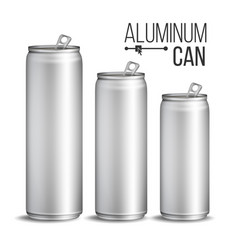 aluminium cans silver can branding design vector image vector image