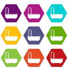 bathroom icon set color hexahedron vector image vector image