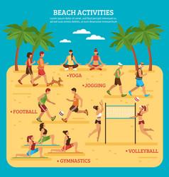 Beach activities infographics vector