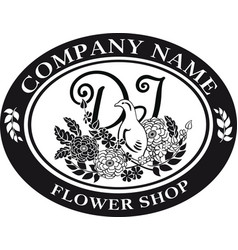black and white for logo design bird and flower vector image vector image