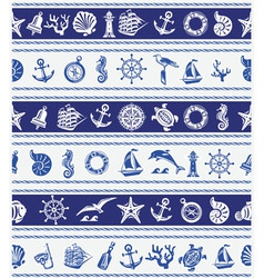 Borders with nautical and sea symbols vector
