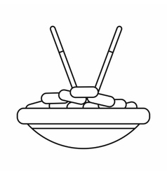 Bowl of rice with chopsticks icon outline style vector