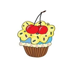 Cartoon cupcake simple vector image