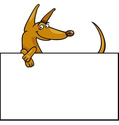 Cartoon dog with board or card vector