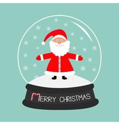 Cartoon santa claus crystal ball with snowflakes vector