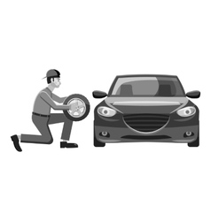 Changing wheel on car icon gray monochrome style vector