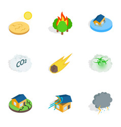 Crisis icons isometric 3d style vector