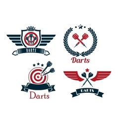 Darts emblems set vector image vector image