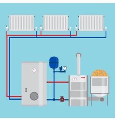 Energy-saving heating system pellet boiler heating vector