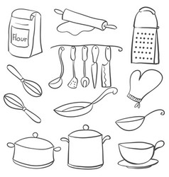Equipment kitchen set doodle style vector