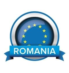 Eu flag button with romania ribbon vector