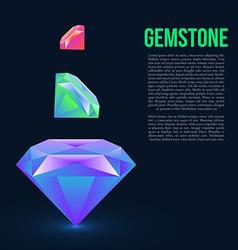 Gemstone isolated on dark background vector