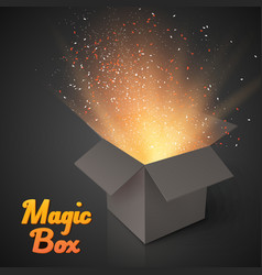 Grey Magic Box with Confetti and Magic Light vector image vector image